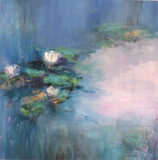 Abby Cork Waterlilies large watercolour mixed media at Vitreus Art