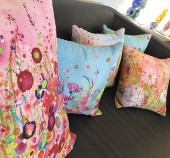 High quality cushions incorparating Abbys designs are now on sale at Vitreus Art, Northants Gallery