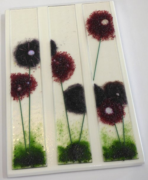 Alliums - fused glass wall art by Jenny Timms of Vitreus Art
