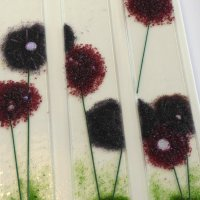 Alliums - fused glass wall art by Vitreus Art