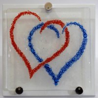 Amour Fused glass wall art at Vitreus Art