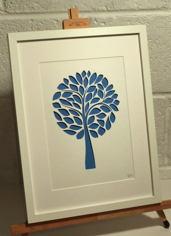Annie Gray papercut art - Mulberry Tree in blue - click to buy online at Vitreus Art