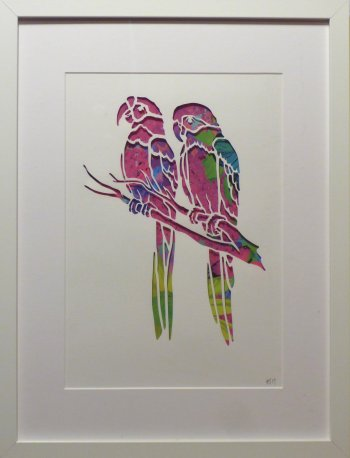 Annie Gray papercut silhouettes in frames - Parrots at Vitreus Art