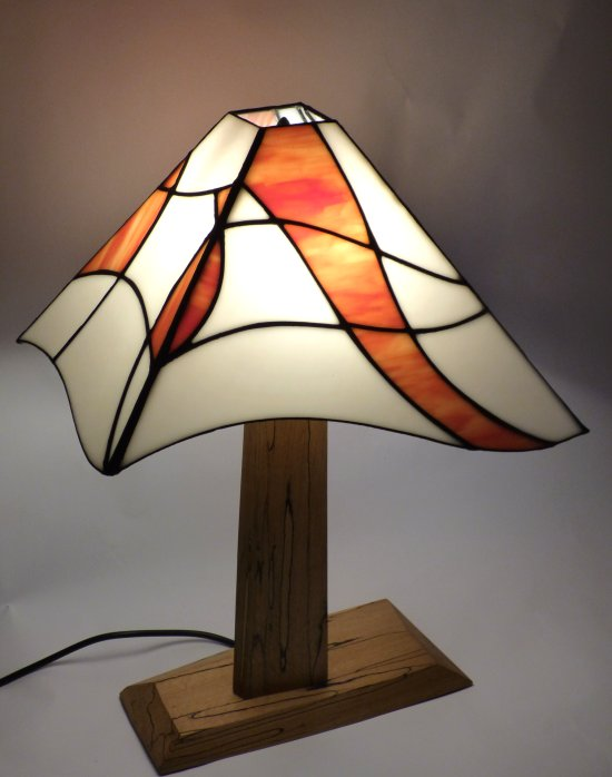 Asymetric stained glass Lamp by Mike Caddy and Vitreus Art