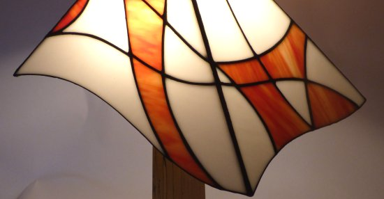 Mikes asyemtric orange and white lamp and wooden base on sale at Vitreus Art