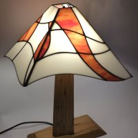 Mikes Asymetric Stained Glass Lamp and wooden base - on show at Vitreus Art