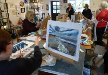 Seascapes being created in this class with Clare Tebboth