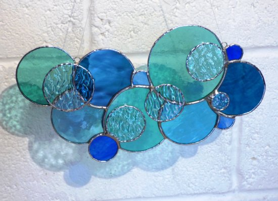 Copper Foiled stained glass window hanging in blue colours by Vitreus Art