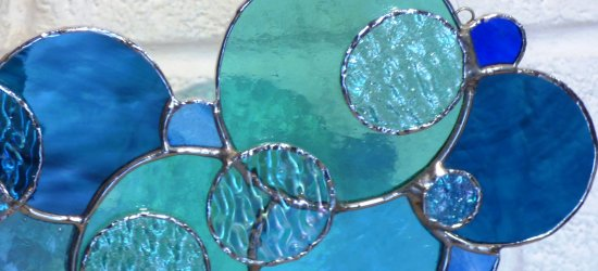 Blue Skies stained glass window hanging by Vitreus Art - close up