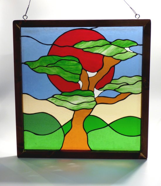 Bonsai Tree copper foiled stained glass in wooden frame by Vitreus Art