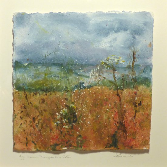 High Summer Buckingham Fields - acrylic on hand-made paper in wooden boxframe - £140
