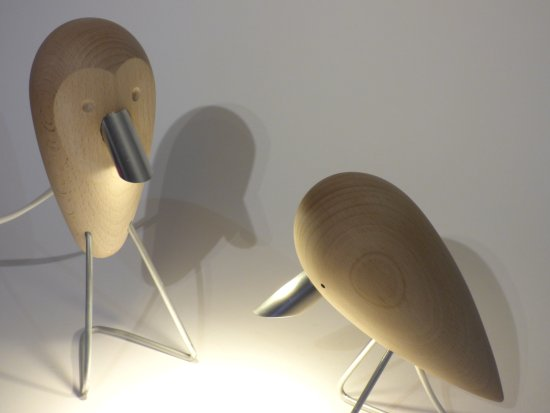 Brian Kichenside - new artost at Vitreus Art Gallery Northants - wooden bird lights