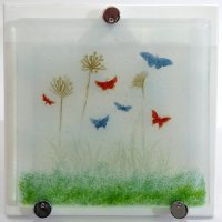 Butterfly Garden fused glass wall art at Vitreus Art gallery