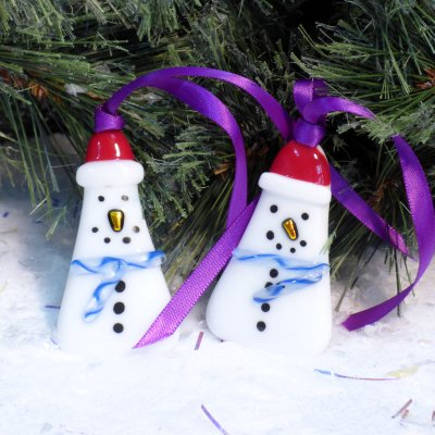 Fused glass snowman christmas decorations available to buy online at Vitreus Art