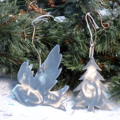 hand-made metal dove Christmas tree decorations available to buy online at Vitreus Art