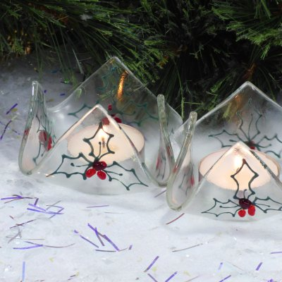 Fused glass tealight holder christmas decorations available to buy online at Vitreus Art