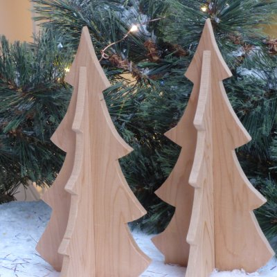 Wooden Christmas tree cards you can post available to buy online at Vitreus Art