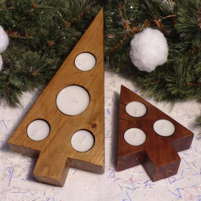 Hand-made wooden tealight holders for Christmas - available to buy online at Vitreus Art