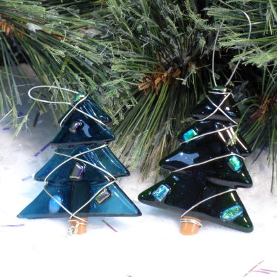 Fused glass tree christmas decorations available to buy online at Vitreus Art