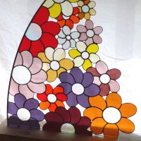 Daisies - freestanding stained glass art at Vitreus Art