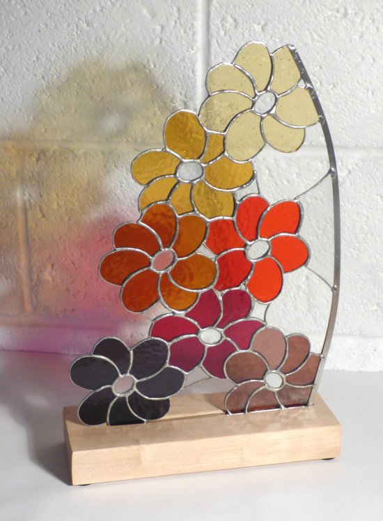 Delius - freestanding flower shaped stained glass on a wooden base from Vitreus Art