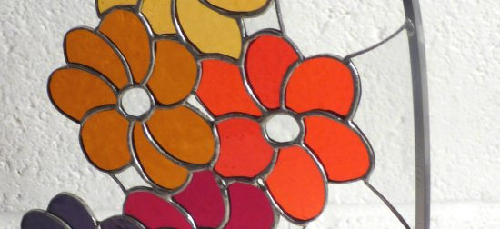 Close up of Delius stained glass art