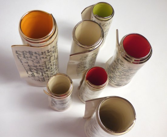 Coloured scroll vases inspired by the Wailing Wall by Dian Griffin on sale ta Vitreus Art gallery in Northants UK