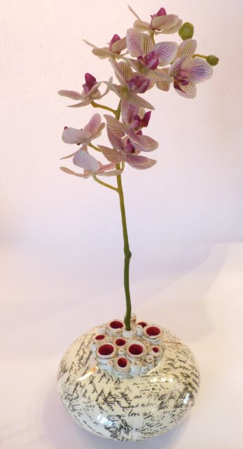 Decorated pod vase by Diane Griffin