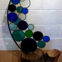 Dollar Cove - freestanding glass and wood sculpture by Vitreus Art