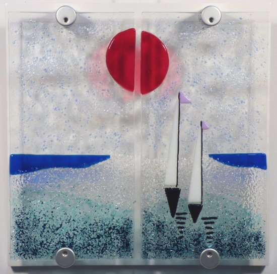 Drifting fused glass art by Jenny Timms of Vitreus Art, on show at the gallery near Towcester and Milton Keynes in Northants