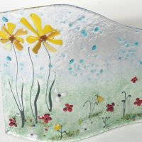English Meadow fused glass art by Vitreus Art - click to view