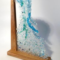 Falling Water - fused glass and wood art by Vitreus Art