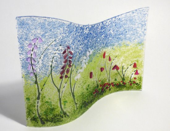Foxglove themed fused glass art at Vitreus Art gallery