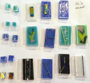 Jewellery glass ready to be fired in the kiln