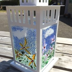 Fused Glass Lantern workshop at Vitreus Art made by student Wendy