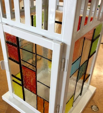A great fused glass lantern made by a student at Vitreus Art