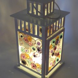 Lantern made by Abby on a Vitreus Art glass fusing workshop