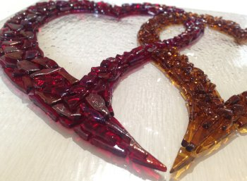 Beautiful tack fused glass heart design by Wendy