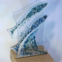 Gold Fish - Fused Glass Art on wooden base - on sale at Vitreus Art