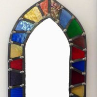Gothic styled stained glass mirror by Vitreus Art