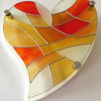 Heart of Gold stained glass wall art
