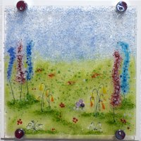 Impressions of an English Garden Fused Glass Wall art by Vitreus Art in Northants UK