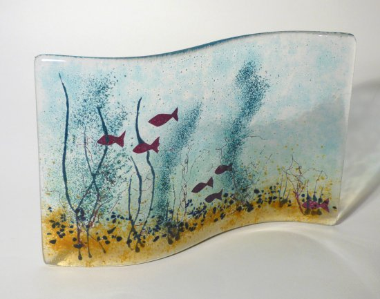 In The River - water themed fused glass art by Jenny Timms of Vitreus Art, on show at the gallery near Towcester and Milton Keynes in Northants