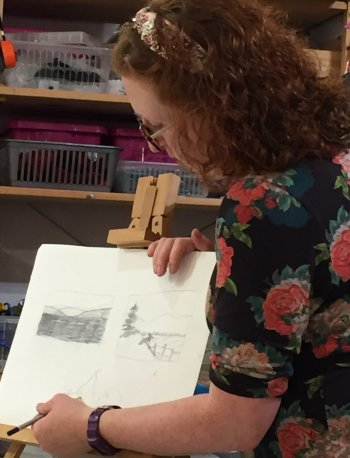 Emily Brady - artist and teacher leading this evening art course at Vitreus Art, near Towcester and Milton Keynes, UK