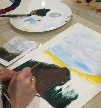 Session 3 - getting the paints out at Vitreus Art