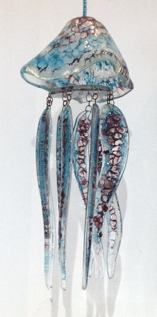 Fused Glass Jellyfish hanging by Vitreus Art