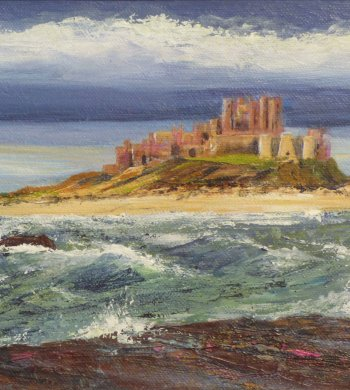 Bamburgh - new painting by Jenny Clark on displkay at Vitreus Art gallery