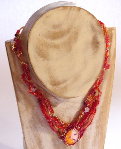 Fused glass and freeform beaded necklace, one of a collection by Jo Cross on sale at Vitreus Art