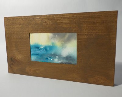 Ink and paper seascape art set in reclaimed wood