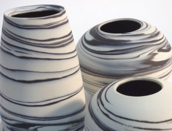 New marbled ceramic vases from Kirsteen Holuj at Vitreus Art Northants Art gallery
